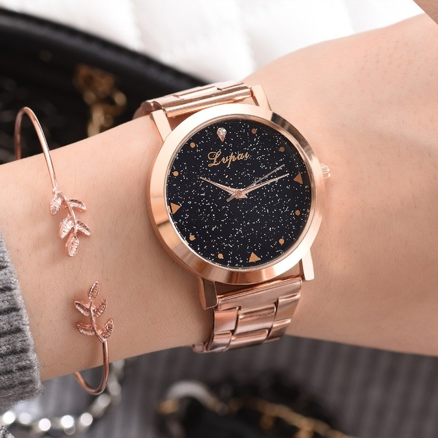Women Dress Watches Rose Gold Stainless Steel Lvpai Brand Fashion Ladies Wristwatch Creative Quartz Clock Cheap Luxury Watches 2