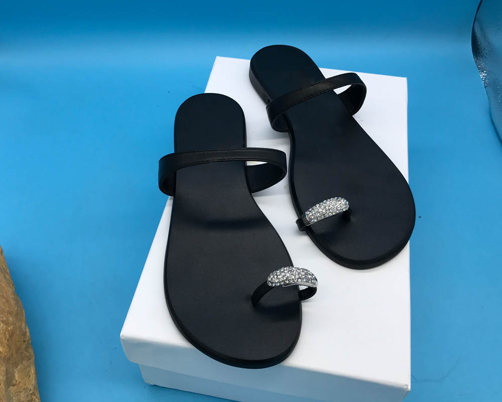 KATHLYN WONG Real Leather Women Crystal Design Slipper Cow Leather Flip Flops