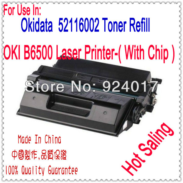Black Laser Toner Cartridge For OKI B6500 Printer,For Okidata 52116001 52116002 Toner,For OKI 6500 Toner Refill,For OKI Toner toner for oki data mc561 mfp for okidata mc352 mfp for oki data mc361 mfp color reset transfer belt cartridge free shipping