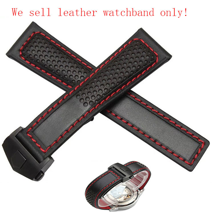 22mm New Black Genuine Leather Watchband Watch Band Strap Bracelet With Red thread for men watches fashion stylish accessories d 32 fashion purple red fish skin leather watch strap 24 22mm watchband with buckle