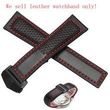22 мм Новый Черный Натуральная Кожа Ремешок Для Часов Ремешок Ремешок Браслет С Красной нитью для мужчин часы мода стильный аксессуары