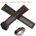 22mm Nueva Negro de Cuero Genuino Correa de Reloj de La Venda de La Pulsera Con accesorios de hilo Rojo para los hombres relojes de moda con estilo