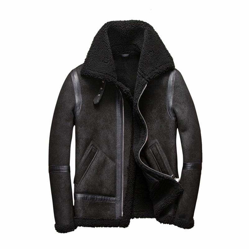 Real Fur Coat Men Plus Size Wool Jacket Short Motorcycle Sheep Shearing Winter Coat for Mens Clothing Veste Homme 5262 YY747(China)