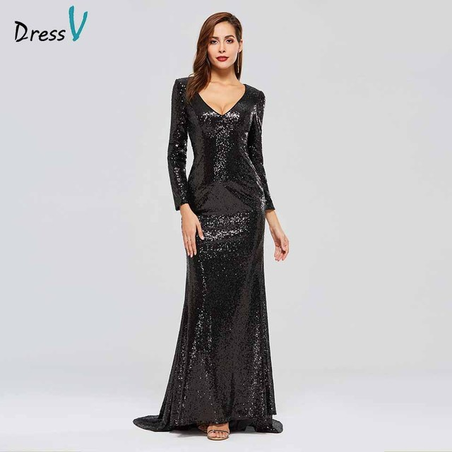 Dressv black evening dress v neck long sleeves sequins mermaid floor length wedding party formal dress trumpet evening dresses