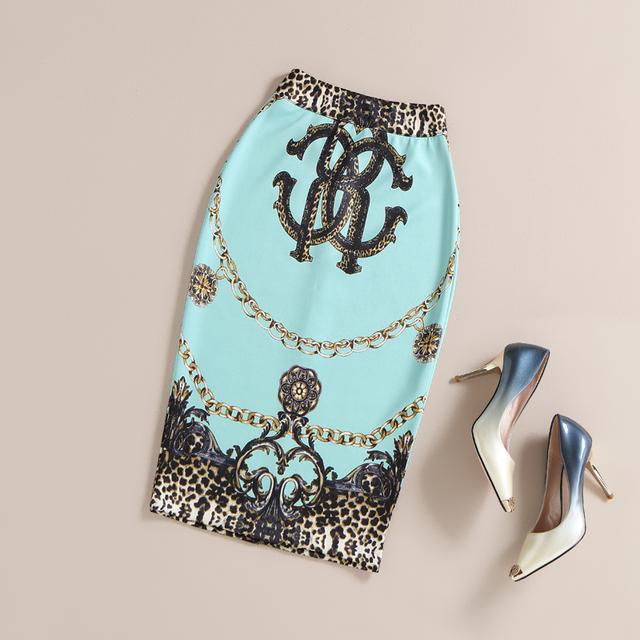 2016 Verano Otoño Moda Vintage Impreso Lápiz Falda de Midi de Las Mujeres de La Rodilla-Longitud Elástica de Cintura Alta de Las Señoras Patrón Faldas faldas