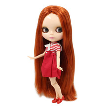Blyth кукла Обнаженная шарнир тело прямые красные коричневые волосы без челки натуральная кожа глянцевое лицо 30 см подходит для DIY № 232 девочка игрушка