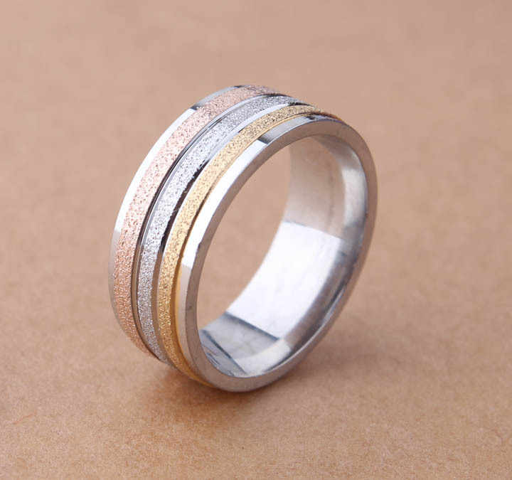 free shipping Three Color  High Dull Polish Sliver Gold And Rose Gold Ring Fashionable Jewelry Wedding Ring 8mm