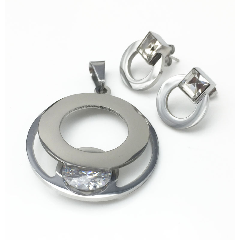 Wholesale Inox Jewelry Stainless Steel 316L Jewelry Set Earring Necklace Set Jewelry With Stone