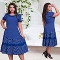2017 nuevas mujeres del diseñador dress imprimir vestidos 6xl verano patchwork drapeado una línea de mitad de la pantorrilla tamaño maxi dress plus de gran tamaño dress