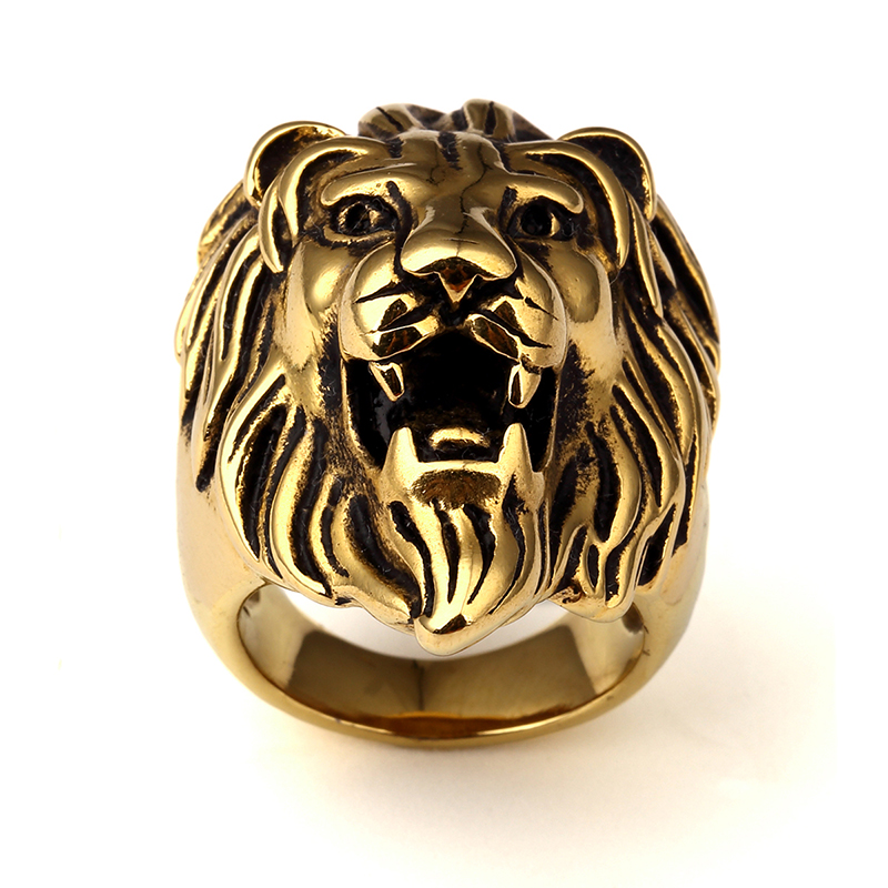 s ferocious steel gothic from item men ring knight accessories rings punk retro stainless code jewelry head golden new design bicycle in lion