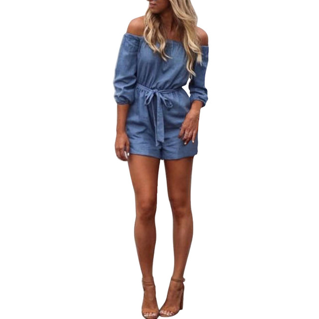 ee080c93888 Casual Women Jumpsuits Summer Ladies Elegant Off Shoulder Denim Playsuit  Sexy Rompers Womens Half Sleeve One Piece Jumpsuit  LH