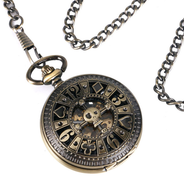 Fob Automatic Mechanical Poker Hollow Pendant Skull Bronze Pocket Watches With Chain Men Women Skeleton Watch Free Shipping