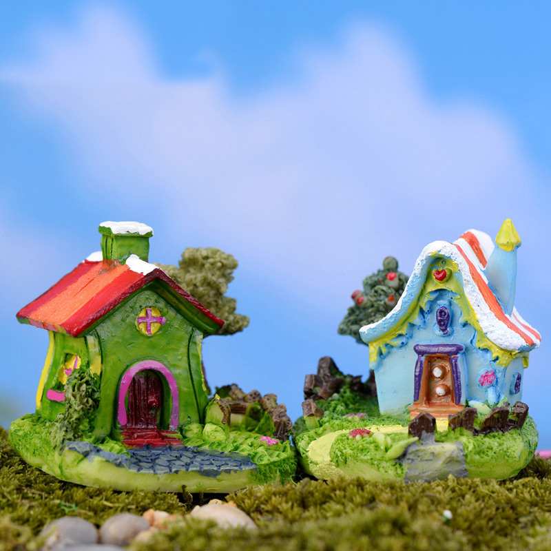 Mini Castle Cartoon House Villa Mini Buildings Miniatures Fairy Garden Gnome Moss Terrarium Decor Crafts Bonsai Home Decor