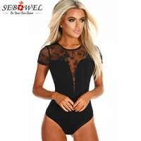 SEBOWEL 2020 noir Sexy dentelle Body femme à manches courtes été dame corps haut vêtements pour femme moulante pure profonde V Body