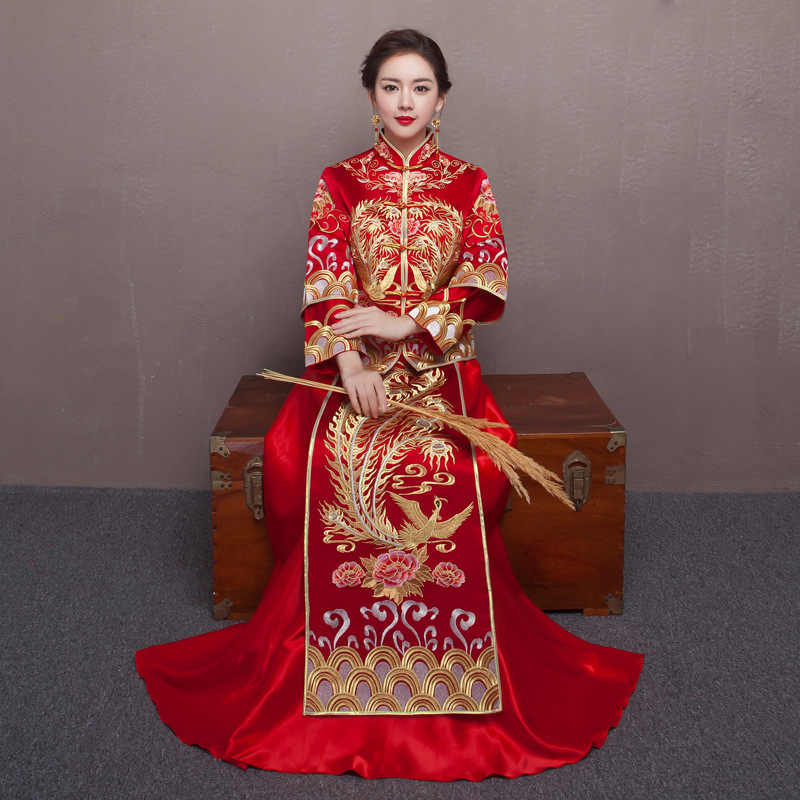 Red Bride Wedding Qipao Chinese Dress Retro Toast Clothing Wedding Dress Dragon and Phoenix Gown Happy Marriage Clothes