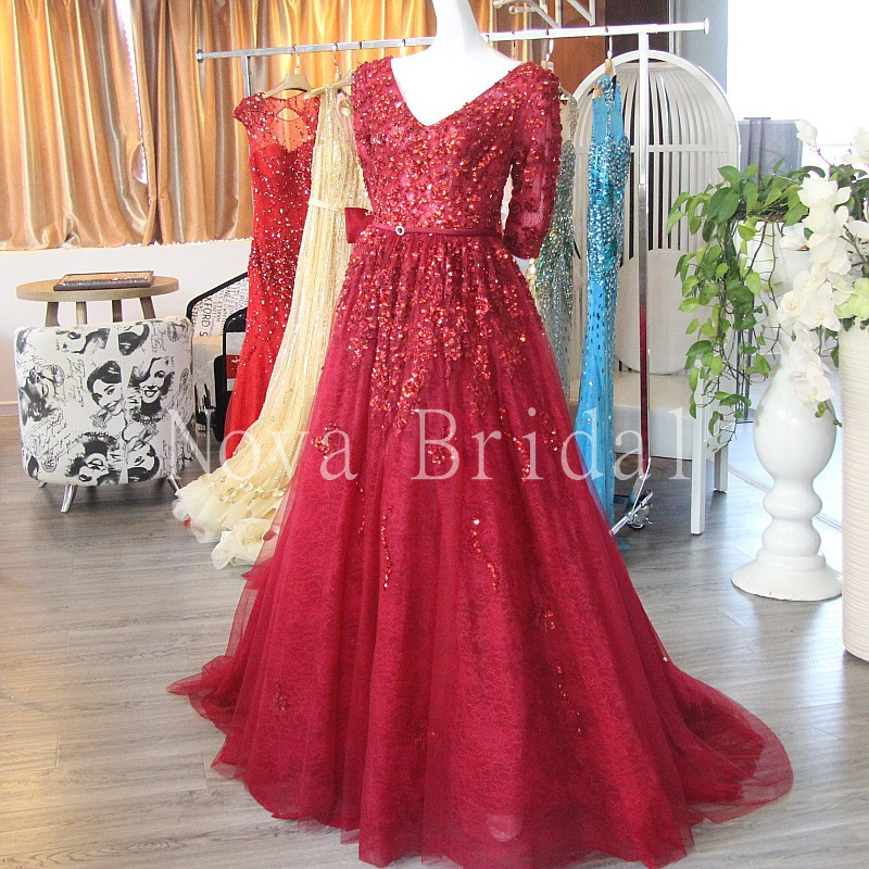 2016 New Elegant A Line V Neck V Backless Half Sleeves Formal   Dresses   Heavy Crystals Red Lace   Evening     Dress   Robe De Soiree IZ517