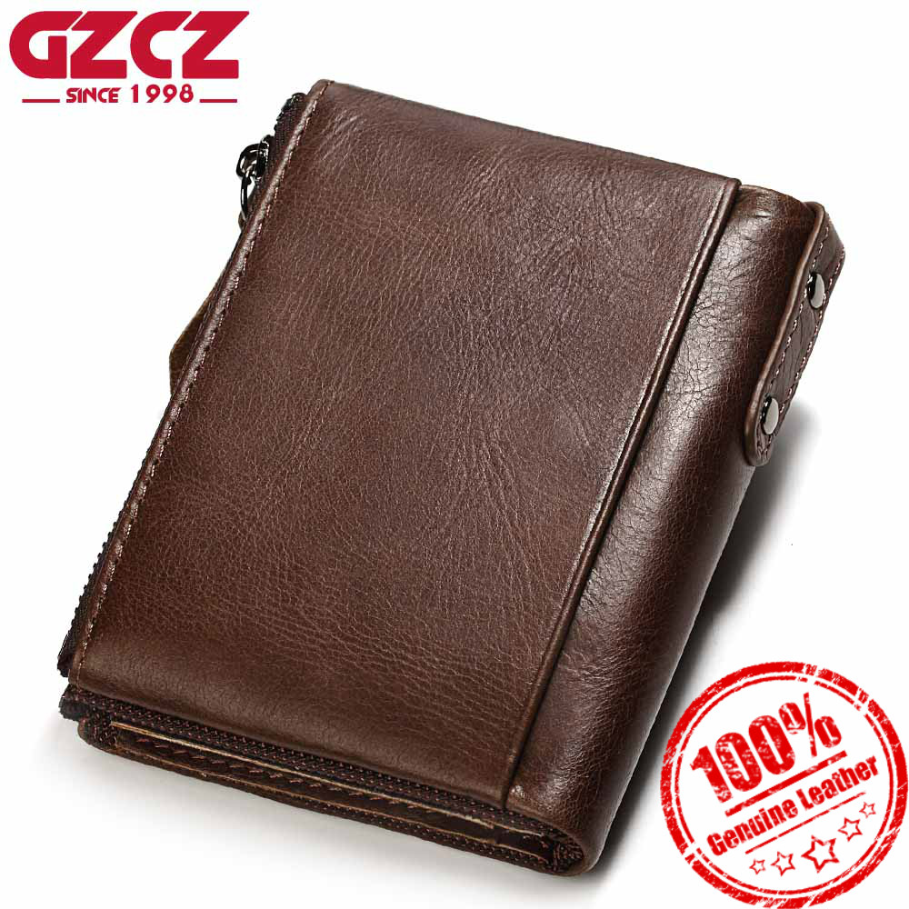 GZCZ Men Wallet High Quality Genuine Leather Luxury Brand Double Zipper Fashion Male Wallets Coin Pocket Small Purse Money Bag цена