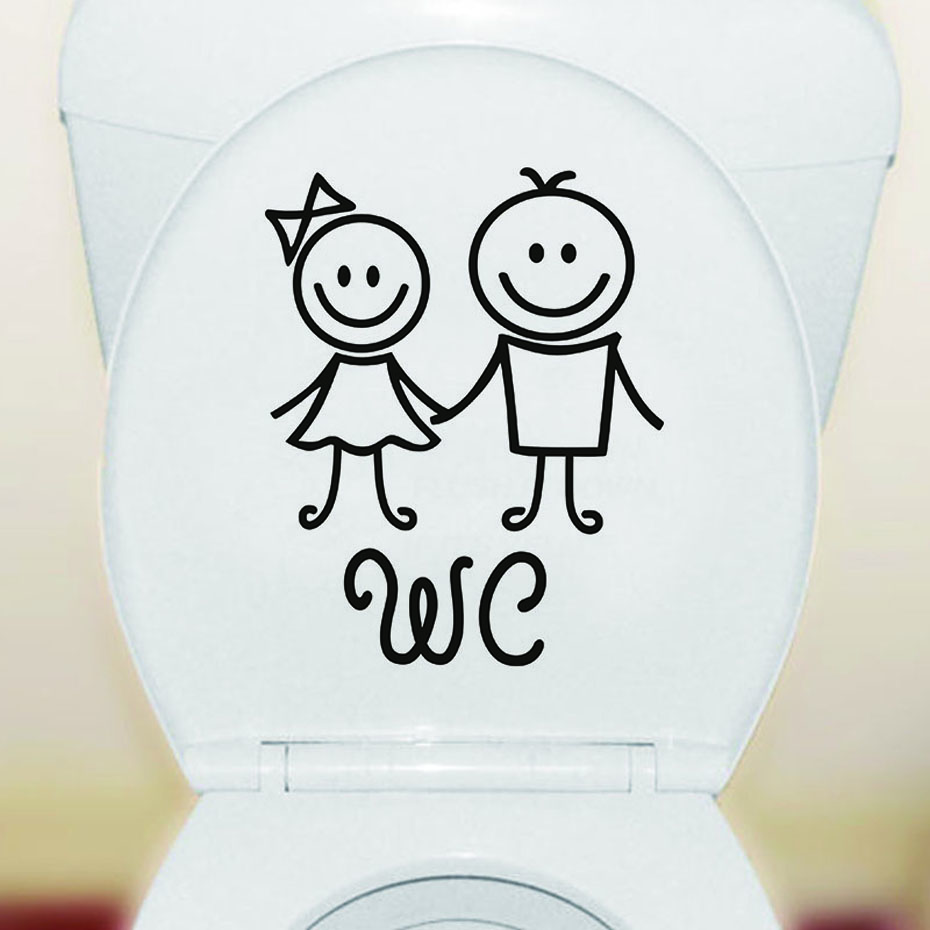 Cute Boy And Girl Hand In Hand WC Toilet Stickers Vinyl Waterproof Wall Stickers Bathroom Closes tool Deacls Home Decoration