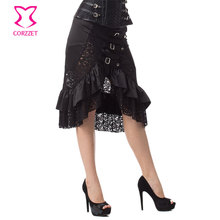 Vintage Punk Black Ruffle and Hollow Out Floral Lace Plus Size Women Skirt Steampunk Skirts Womens Dropped Gothic Skirt 6XL все цены