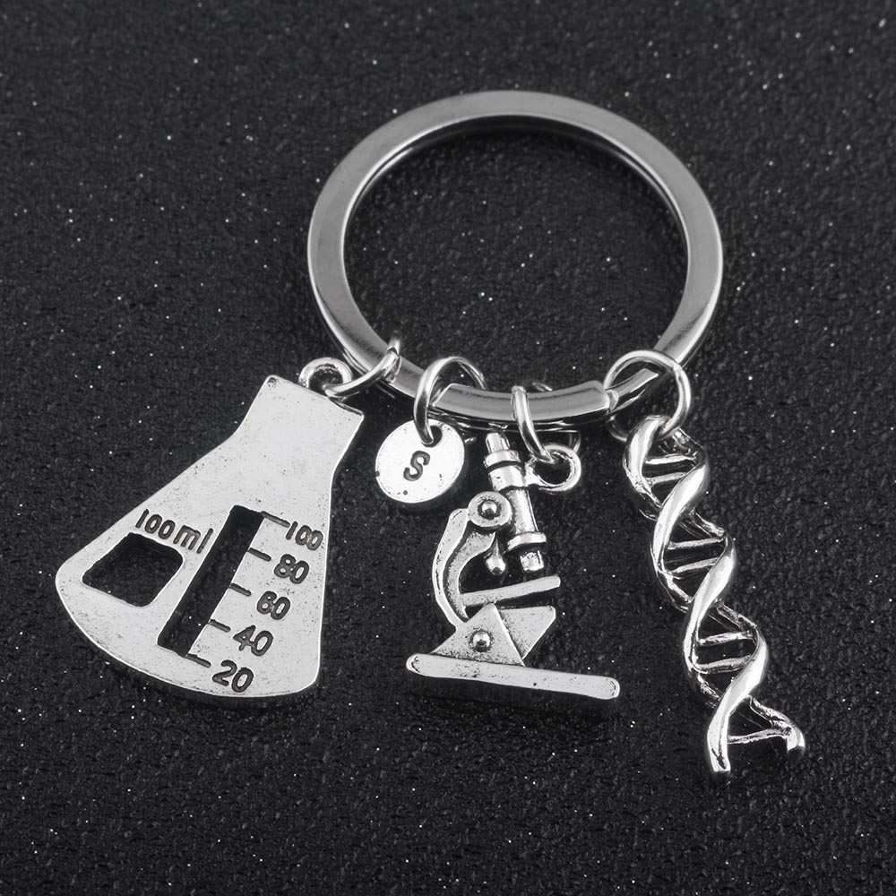 NEW Jewelry Chemical Biological Experimental Tool Key Chains Conical Flask Chemical Molecular DNA Microscope Pendant Keychain