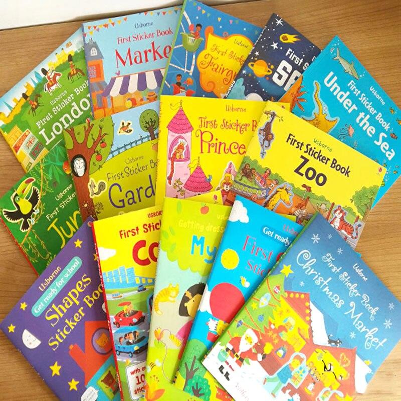 5pcs Children Cartoon Sticker Books A4 Size Kids English Story Book With Reusable Stickers Preschool Learning For Kindergarten