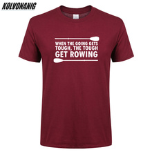 Summer 2019 Rowing Printed T Shirt Men Oversized Men's Sportswear 100%Cotton Short Sleeves O-Neck Rower T-Shirts Plus Size