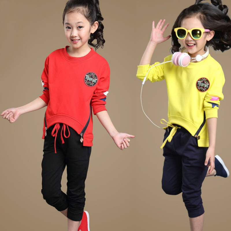 Children's clothing female child autumn 2015 long-sleeve Clothes Suit For girl t-shirt trousers girls clothing sets 2015 autumn child casual long sleeve cat kitty cartoon t shirt