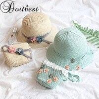 Doitbest для мальчиков высокого качества соломенные шляпы для девочек цветы летнее солнце Шапки для детей пляжные Шапки складной солнцезащитн...