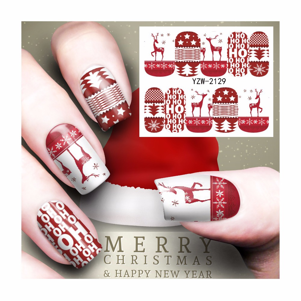 FWC Nail Art Water Tattoo Design Manicure Christmas Design Water Transfer Decals 2129