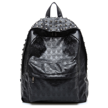 Daily Backpack Punk Skull Imprint Backpacks College school bag