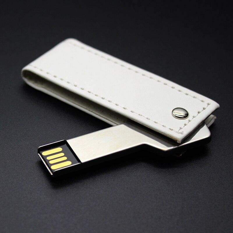 Flash Memory Stick White Leather + Key USB Flash Drive 4GB 8GB 16GB Pen Drive 32GB 64GB USB Stick U Disk Pendrive