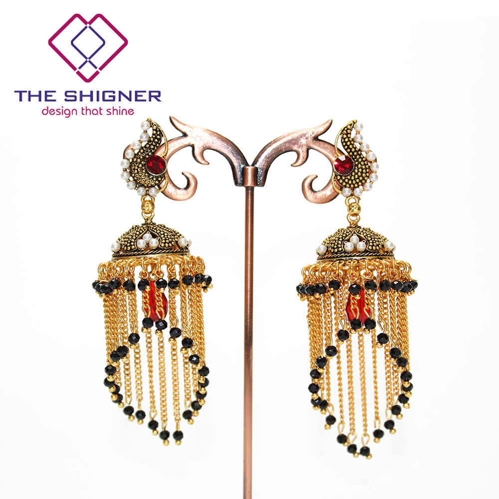 ... THE SHIGNER Indian Tradition Jewelry Bombay Fashion Stylish Party Wear  Gold Color Crystal Pearl Jhumki Jhumka ... 10ba0aa94a81