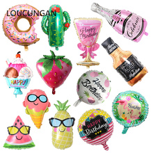Hawaii Fruit Beer Foil Balloon babyshower Birthday Party Decor Kids Adult Round ball Unicorn Party Air Balloon wedding Balloons стоимость
