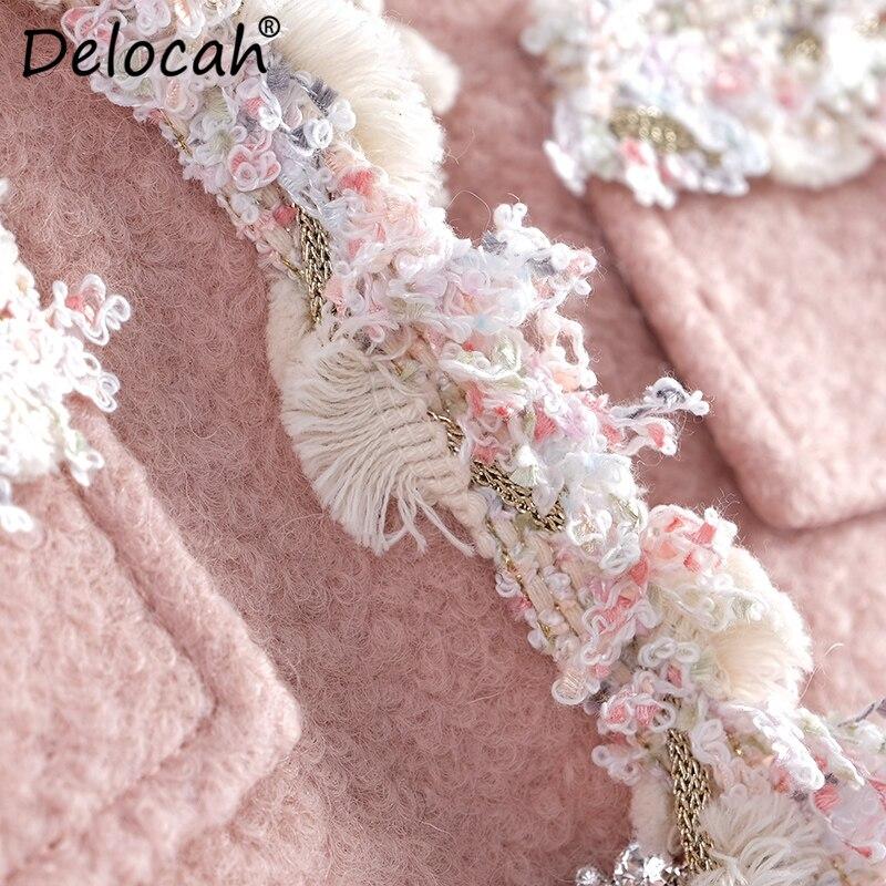 De Chaud Noir Vestes Automne blanc Mode Femmes Magnifique Point Piste Manteaux Delocah Manches Diamants 2018 Poches rose Longues Casual Ouvrir Conception À xTHwqn5I