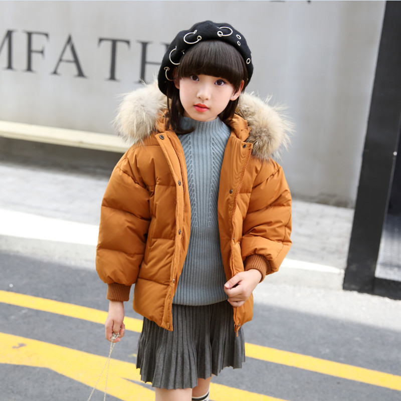 11-150 2017 Down Jackets For Girls Winter Coat Fashion Solid Hooded Fur Collar Girl Outerwear Warm Topcoat 4 Colors Can Choose casual 2016 winter jacket for boys warm jackets coats outerwears thick hooded down cotton jackets for children boy winter parkas