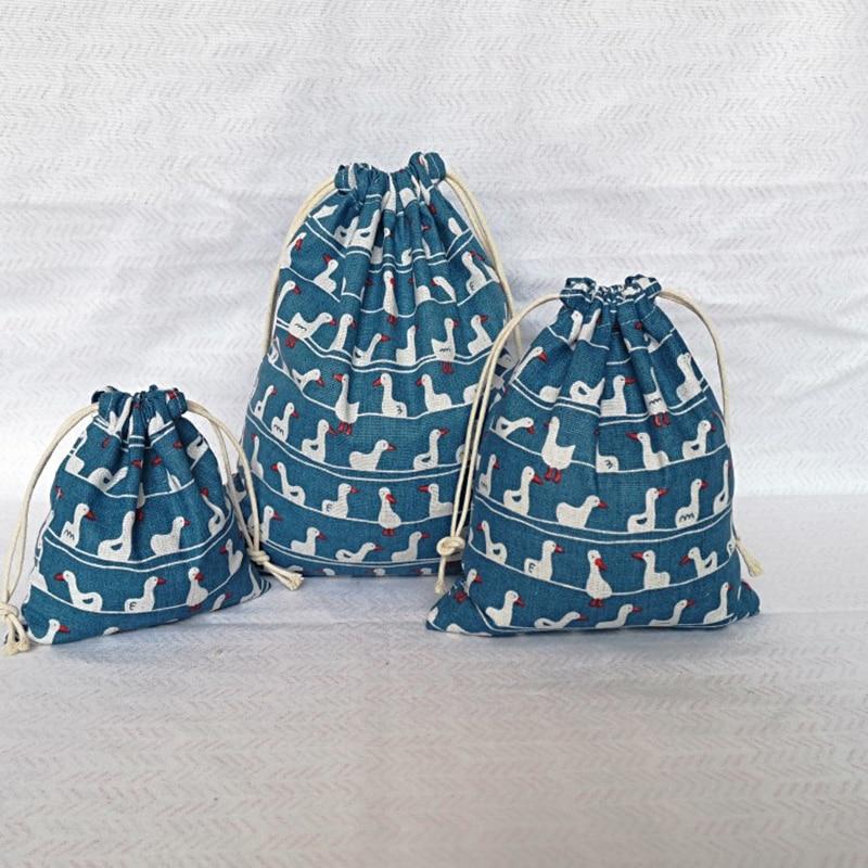 Portable Clothes Socks Shoes Underwear Storage Bag Cotton And Linen Cactus Decor Tote Drawstring Bag Travel Makeup Organizers Storage Bags