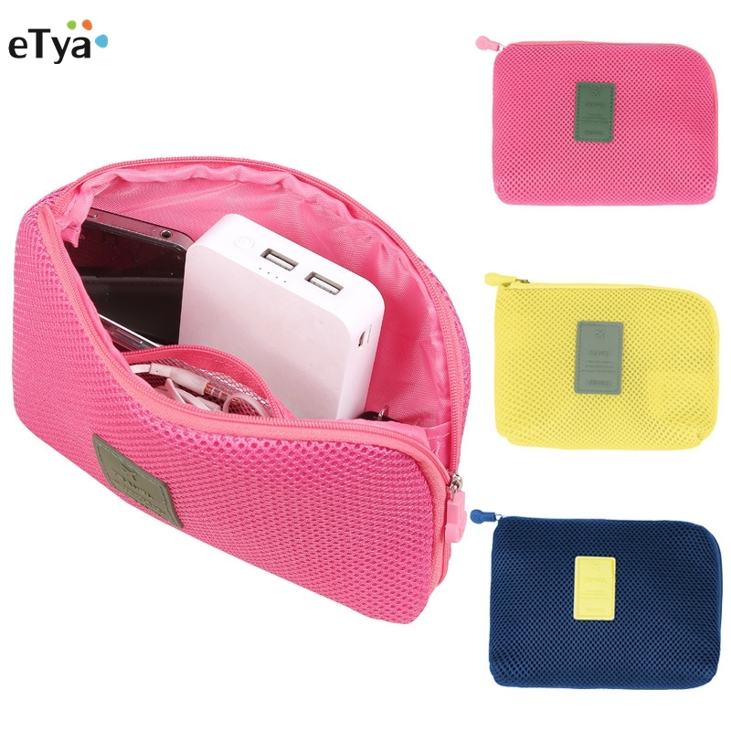 ETya Fashion Women Men Travel Shockproof Digital Earphone Cable USB Charger Case Cosmetic Makeup Organizer Accessories Bag
