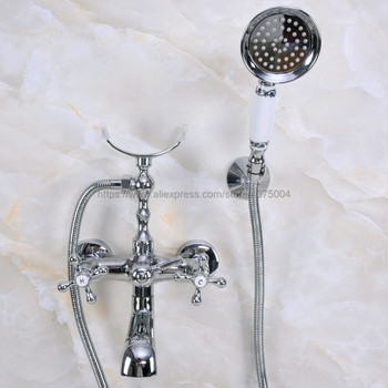 Wall Mounted Polished Chrome Clawfoot Bathtub Faucet telephone style Bath Shower Water Mixer tap with Handshower Nna228 modern wall mount polished chrome brass bathroom clawfoot hand shower faucet mixer tap set telephone shape hand spray ana209