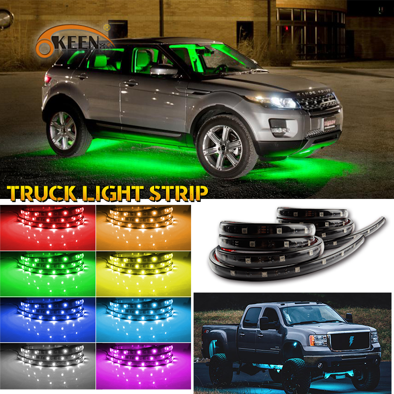 OKEEN 2X60inch RGB ar RGB LED Strip 5050 SMD DC12V 6000K RGB LED Strip Under Car Tube Underglow Underbody System Neon Light Kit one side connection cable for rgb 5050 smd led strip dc 12v 14cm