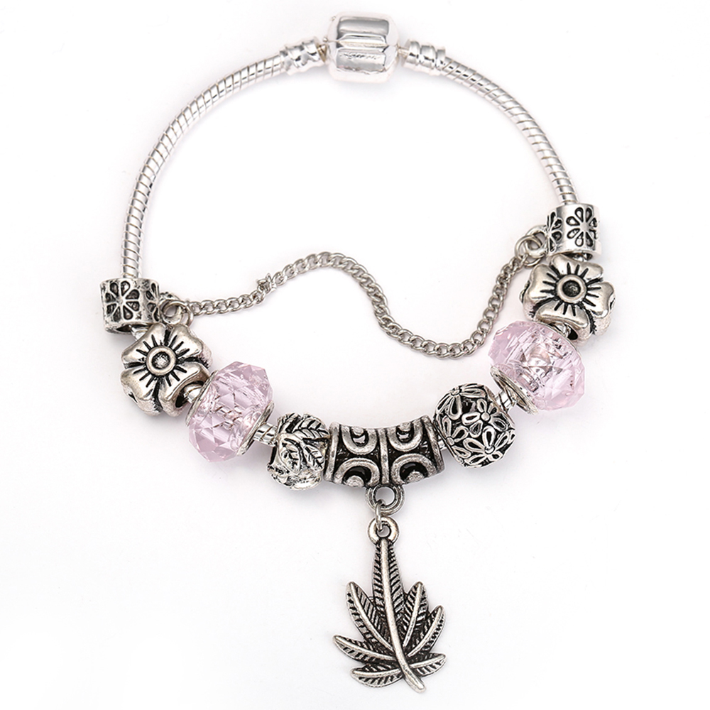 SPINNER Vintage Pink Charm Bracelet With Big Leaves Pendant for Women Glass Beads Pandora Bracelet Jewelry Gift