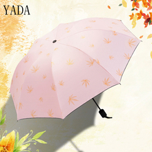YADA Charms Folding Design Gold Maple Leaf Pattern Umbrella Rain Women uv High Quality Umbrella For Womens Brand Umbrellas YS412 fashionable color block and leaf pattern design satchel for women