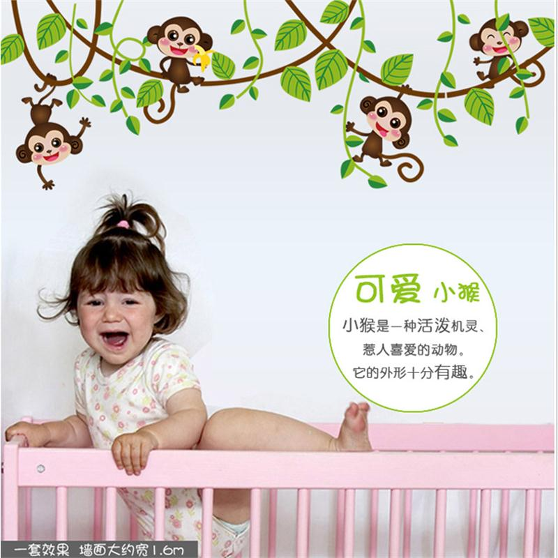 4 Cute Monkeys Wall Decals Sticker Nursery Decor Mural: Cute Monkey Tree Wall Stickers For Kids Rooms Baby Nursery