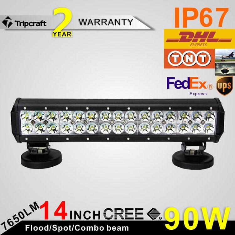 ФОТО 2pcs 14.5''inch 90W LED Light Bar for Driving Offroad Boat Car Tractor Truck 4x4 SUV ATV Flood 12V 24V led headlight led car