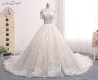 Luxury New Long Wedding Dress 2018 Boat Neck Short Sleeves Chapel Train Ball Gown Appliques Tulle China Bridal Gowns