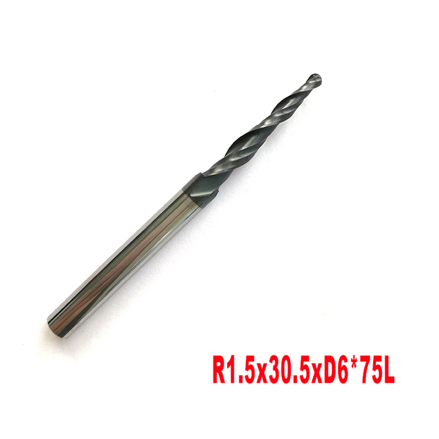 Free Shipping Tungsten Solid Carbide 6mm Ball Nose Tapered End Mills Router Bits cnc Taper Wood Metal Milling Cutters