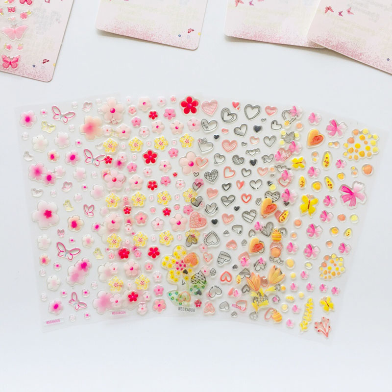 1 Sheet Crystal Epoxy Butterfly Flower Heart Decorative Stickers Dairy Album Decor Phone Bottle DIY Stick Label