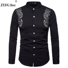 Fashion brand Mens Long Sleeved shirt Casual Henry collar men palace embroidery shirts EU/US large size S-XXL