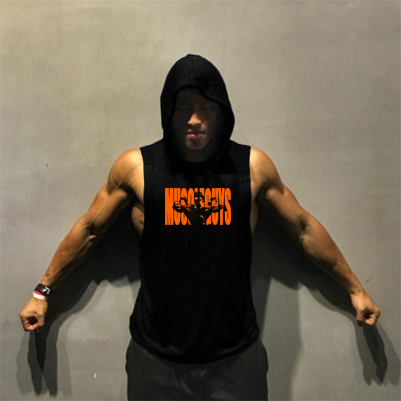 New Summer Brand Muscle guys Fitness Stringer Hoodies Muscle Shirt Bodybuilding Clothing Gyms Tank Top Mens  Sleeveless shirts