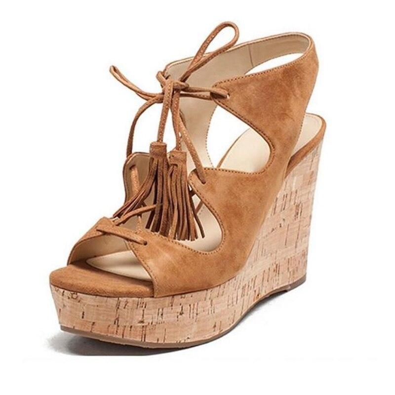 Sandales compensées à bout ouvert marron pour femme, plate forme en bois, évider les chaussures de soirée à lacets - 2