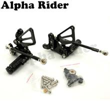Black Motorcycle Racing CNC Billet Adjustable Rearsets Footrests Foot Control Pedals Pegs Rear Sets for Ducati 848 EVO 1098 1198